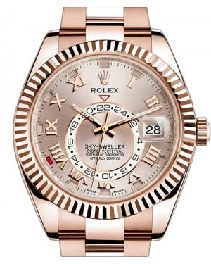 Rolex Sky-Dweller 326935 Men's 42mm Sundust Roman 18k Rose Gold Oyster - BRAND NEW