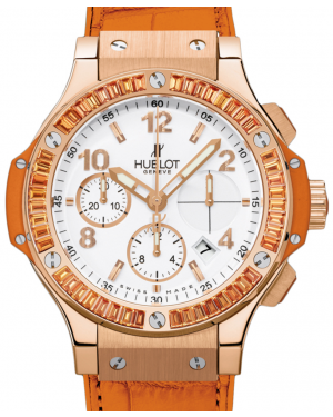 Hublot Tutti Frutti 341.PO.2010.LR.1906 White Arabic Orange Sapphire Bezel Rose Gold & Orange Leather 41mm BRAND NEW