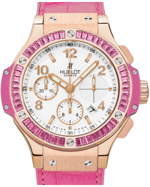 Hublot Tutti Frutti 341.PP.2010.LR.1933 White Arabic Pink Sapphire Bezel Rose Gold & Pink Leather 41mm BRAND NEW
