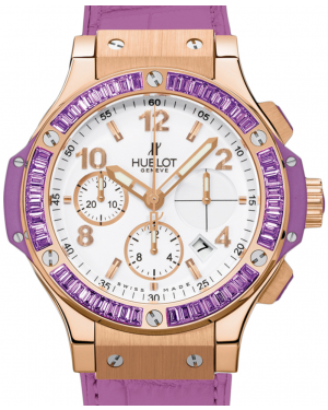 Hublot Tutti Frutti 341.PV.2010.LR.1905 White Arabic Baguette Amethysts Bezel Rose Gold & Purple Leather 41mm BRAND NEW