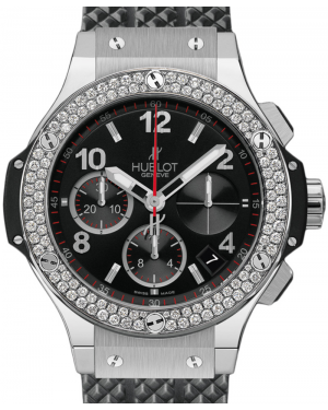 Hublot Big Bang 342.SX.130.RX.114 Black Arabic Diamond Bezel & Stainless Steel Case Rubber 41mm BRAND NEW