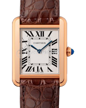 Cartier Tank Solo Silver Dial Rose Gold Bezel Brown Leather Strap 31mm x 24.4mm W5200024 - BRAND NEW