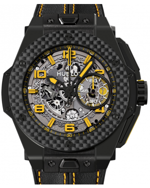 Hublot Big Bang Unico Ferrari 401.CQ.0129.VR Skeleton Yellow Arabic Carbon Fiber Bezel & Black Ceramic Case Leather 45mm BRAND NEW