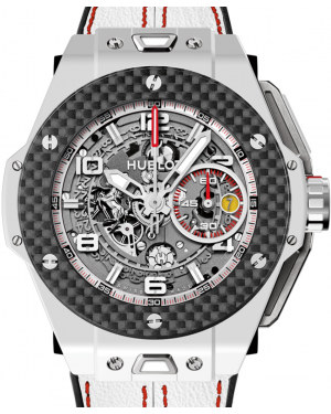 Hublot Big Bang Unico Ferrari 401.HQ.0121.VR Skeleton Arabic Carbon Fiber Bezel & White Ceramic Case Leather 45mm BRAND NEW