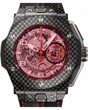 Hublot Big Bang Unico Ferrari 401.QX.0123.VR Skeleton Pink Arabic Carbon Fiber Case Leather 45mm BRAND NEW
