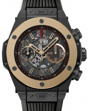 Hublot Big Bang Unico 411.CM.1138.RX Skeleton Arabic Fixed Yellow Gold Bezel & Black Ceramic Case Rubber 45mm BRAND NEW