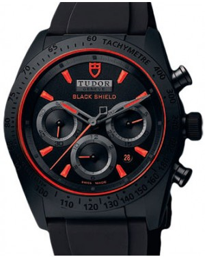 Tudor Fastrider Blackshield 42000CR Black Red Index Black Ceramic & Rubber Chronograph 42mm BRAND NEW