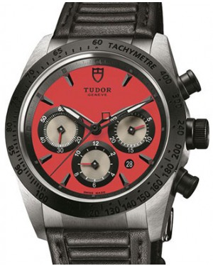Tudor Fastrider Chronograph 42010N-Red Red Index Stainless Steel & Leather 42mm BRAND NEW