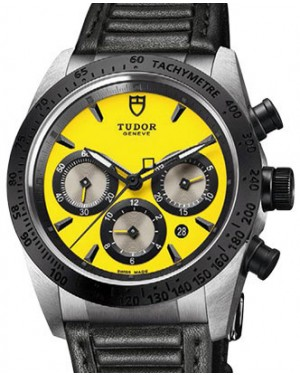 Tudor Fastrider Chronograph 42010N-Yellow Yellow Index Stainless Steel & Leather 42mm BRAND NEW