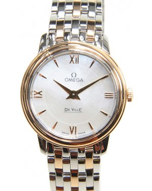 Omega De Ville Prestige Quartz 424.20.27.60.05.002 27.4mm White Mother of Pearl Red Gold Stainless Steel BRAND NEW