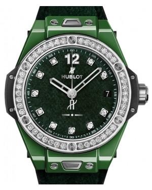 Hublot Big Bang One Click Italia Independent Dark Green Velvet 465.GX.277G.NR.1204.ITI18 Green Diamond Bezel Ceramic Fabric 39mm - BRAND NEW