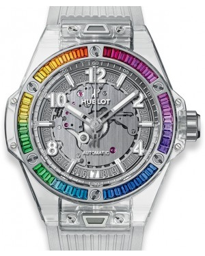 Hublot Big Bang One Click Sapphire Rainbow 465.JX.4802.RT.4099 Skeleton Rainbow Gem Bezel Sapphire Crystal Rubber 39mm - BRAND NEW