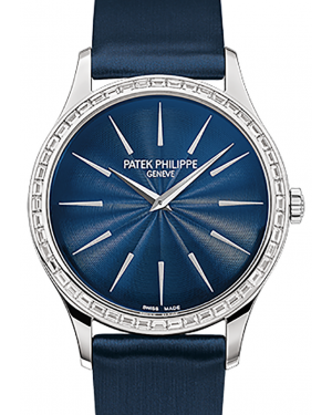 Patek Philippe 4897-300G-001 Ladies Calatrava 33mm Guilloched Night Blue Index Diamond Bezel White Gold Satin BRAND NEW