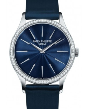 Patek Philippe Calatrava Ladies 33mm Blue Index White Gold Diamond Set Leather Manual 4897G-001 - BRAND NEW