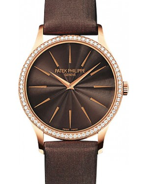Patek Philippe Calatrava Ladies Brown Index Dial Rose Gold Diamond Set Bezel Leather Manual 33mm 4897R-001 - BRAND NEW