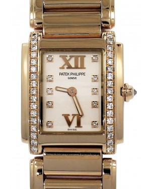 Patek Philippe 4908/11R-011 Twenty~4 Ladies 22 x 26.3mm White Roman Diamond Set Rose Gold Quartz BRAND NEW