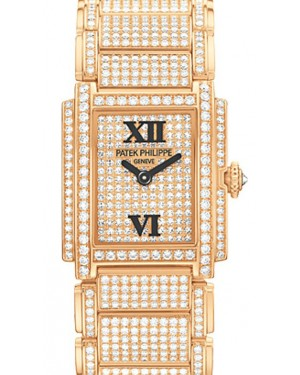 Patek Philippe 4909/50R-001 Twenty~4 Ladies 22 x 26.3mm Diamond Pave Roman Rose Gold Manual BRAND NEW
