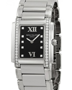 Patek Philippe 4910/10A-001 Twenty~4 Ladies Medium 25 x 30mm Black Roman Diamond Set Stainless Steel Quartz BRAND NEW