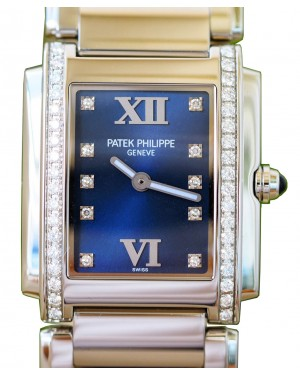 Patek Philippe 4910/10A-012 Twenty~4 Ladies Medium 25 x 30mm Blue Sunburst Roman Diamond Set Stainless Steel Quartz BRAND NEW