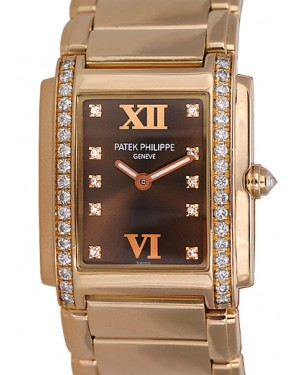 Patek Philippe 4910/11R-010 Twenty~4 Ladies Medium 26 x 30mm Brown Roman Diamond Set Rose Gold Quartz BRAND NEW