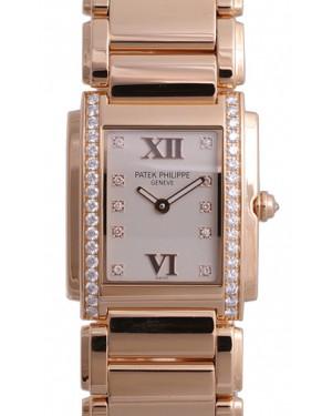 Patek Philippe 4910/11R-011 Twenty~4 Ladies Medium 27 x 30mm White Roman Diamond Set Rose Gold Quartz BRAND NEW