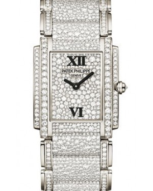 Patek Philippe 4910/52G-001 Twenty~4 Ladies Medium 28 x 30mm Diamond Pave Roman White Gold Quartz BRAND NEW