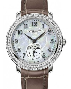 Patek Philippe Complications Moon Phase Ladies White Gold 33.3mm White Mother of Pearl Dial Diamond Set Manual 4968G-010 - BRAND NEW