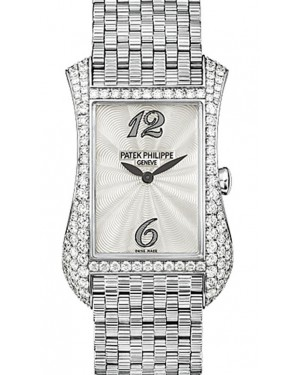 Patek Philippe 4972/1G-001 Gondolo Serata Ladies 27.4 x 39.7mm Guilloched White Mother of Pearl Arabic White Gold Diamond Set Quartz BRAND NEW