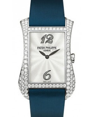 Patek Philippe Gondolo Serata Ladies Guilloched White Mother of Pearl Arabic Dial White Gold Diamond Set Bezel Quartz 4972G-001 - BRAND NEW