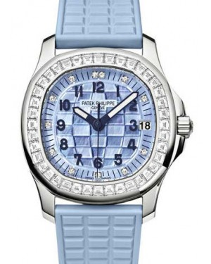 Patek Philippe 5072G-001 Aquanaut Ladies 35.6mm Blue Mother of Pearl Arabic Diamond Bezel White Gold Diamond Set Composite Automatic BRAND NEW
