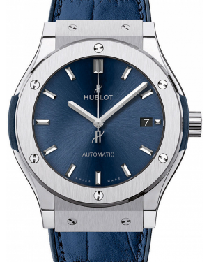 Hublot Classic Fusion Blue Index Dial Titanium Bezel Leather Strap 45mm 511.NX.7170.LR - BRAND NEW