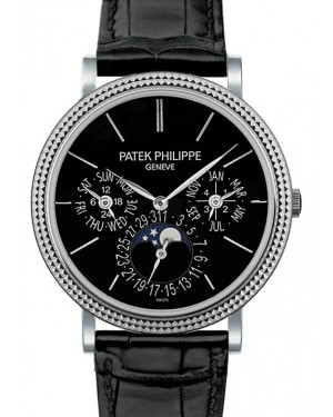 Patek Philippe Grand Complications Black Index Dial White Gold Bezel Black Leather Strap 38mm 5139G-010 - BRAND NEW