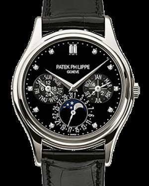 Patek Philippe Grand Complications Annual Calendar Moon Phase Black Diamond Dial Platinum Bezel Black Leather Strap 37.2mm 5140P-013 - BRAND NEW