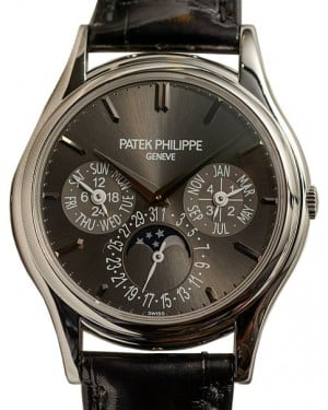 Patek Philippe 5140P-017 Grand Complications 37.2mm Charcoal Gray Sunburst Index Platinum Leather BRAND NEW