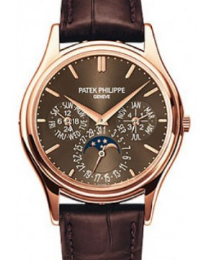 Patek Philippe Grand Complications Day-Date Annual Calendar Moon Phase Brown Dial Rose Gold Leather 37.2mm 5140R-001 - BRAND NEW