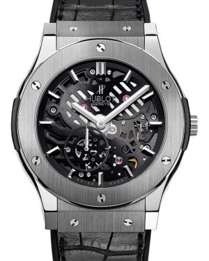 Hublot Classic Fusion Classico 515.NX.0170.LR Skeleton Index Titanium & Leather 45mm BRAND NEW