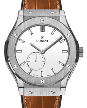 Hublot Classico Ultra-Thin 515.NX.2210.LR White Index Titanium & Leather 45mm BRAND NEW