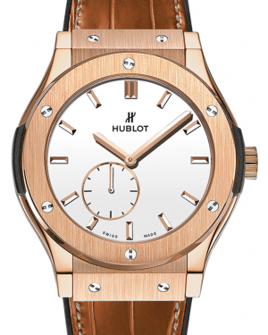 Hublot Classico Ultra-Thin 515.OX.2210.LR White Index Rose Gold & Leather 45mm BRAND NEW