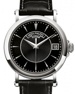 Patek Philippe Calatrava Silver Opaline Index Dial White Gold Bezel Black Leather 38mm 5153G-010 - BRAND NEW