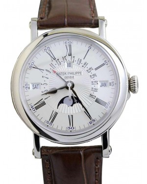 Patek Philippe 5159G-001 Grand Complications Day Month Annual Calendar Moon Phase 38mm White Opaline Roman White Gold Leather Automatic BRAND NEW