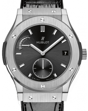 Hublot Classic Fusion Power Reserve Black Index Dial Titanium Bezel Leather Strap 45mm 516.NX.1470.LR - BRAND NEW