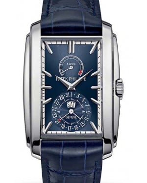 Patek Philippe 5200G-001 Gondolo 32.4 × 46.9mm Blue Sunburst Index 8-Days Day-Date White Gold Leather Manual - BRAND NEW