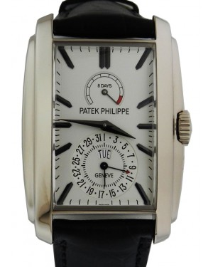 Patek Philippe 5200G-010 Gondolo 32.4 × 46.9mm Silver Opaline Index 8-Days Day-Date White Gold Leather Manual - BRAND NEW