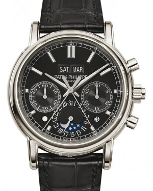 Patek Philippe 5204P-011 Grand Complications Day Month Annual Calendar Moon Phase 40mm Black Index Platinum Leather Manual BRAND NEW