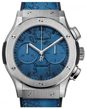 Hublot Classic Fusion Chronograph Berluti Scritto Ocean Blue 521.NX.050B.VR.BER18 Blue Index Titanium Leather 45mm - BRAND NEW