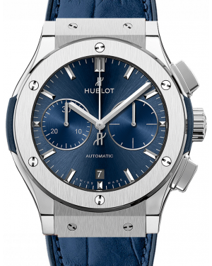 Hublot Classic Fusion Blue 521.NX.7170.LR Index Titanium & Leather 45mm BRAND NEW