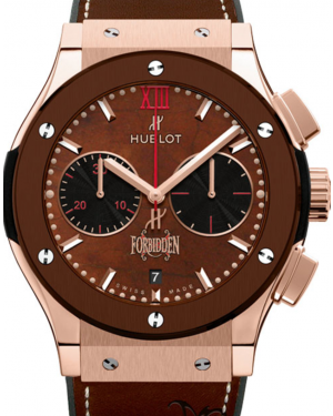 Hublot Classic Fusion Chronograph 521.OC.0589.VR.OPX14 Brown Index Fixed Ceramic Bezel & Rose Gold Leather 45mm BRAND NEW
