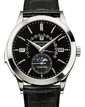 Patek Philippe 5216P-001 Grand Complications Perpetual Calendar Day Month Moon Phase 39.5mm Black Index Platinum Leather Manual BRAND NEW