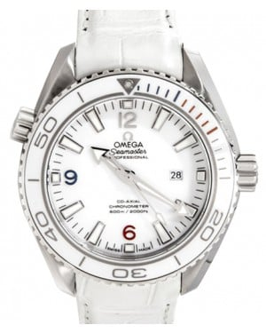 Omega 522.33.38.20.04.001 Planet Ocean 600M Co-Axial 37.5mm White Ceramic Stainless Steel Leather BRAND NEW