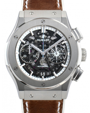 Hublot Classic Fusion Aerofusion 525.NX.0129.VR.LGO16 Skeleton Index Titanium & Brown Leather 45mm BRAND NEW